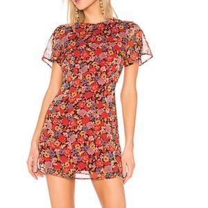 House of Harlow 1960 Lotte Dress Red Mixed Floral